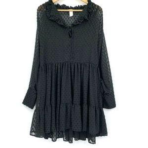 H&M Sheer Ruffle Oversized Babydoll Dress